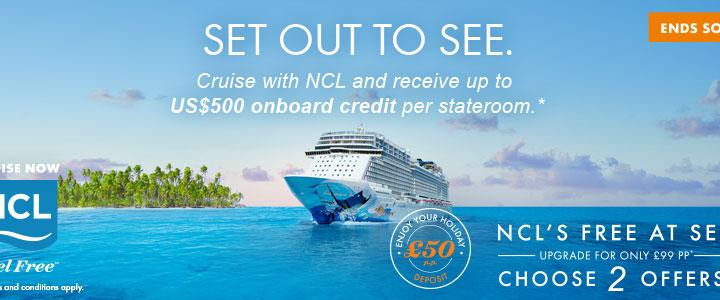 NCL Up to $500 On Board Credit – Book between 1 & 16 Oct