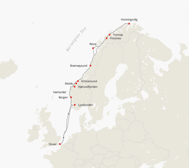 Hurtigruten MS Maud Norwegian Fjords, North Cape and Arctic Sunshine, departs April 2021 May 2021 June 2021 July 2021 September 2021